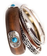 Austin Western 4 Piece Bracelet Set Silver Metal Turquoise Beads Western... - $15.00
