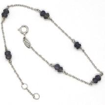 Bracelet or Blanc 18K 750 avec Iolite Bleu, à Facettes, Fabriqué en Italie image 1