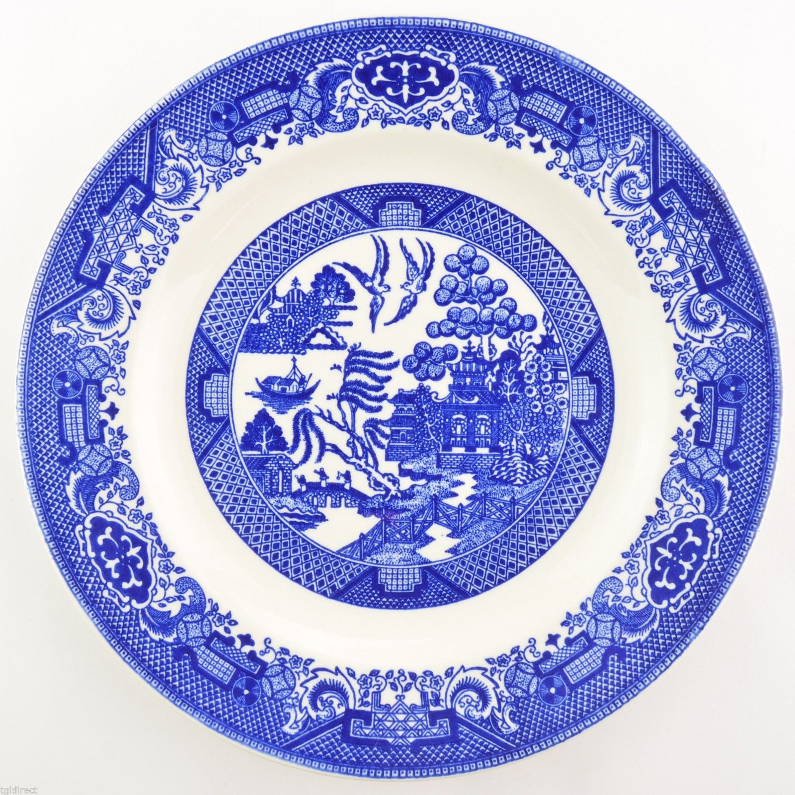 Primary image for Royal USA China Willow Ware Blue Dinner Plate Tableware Dinnerware Ironstone