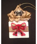 PUG   Christmas Tree  Ornament Figurine Statue  Fawn Dog in Gift Box - $12.79