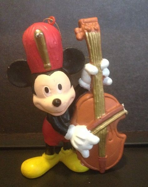 Vintage Mickey Mouse Playing Cello Christmas Tree Ornament