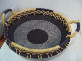 """Pier One 14"""" Diameter Terra Cotta Bowl with Wicker Upper and Handles M7 ... - €17,22 EUR"""