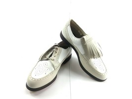 FOOTJOY Women's Kiltie Golf Shoes White Beige Leather Europa Collection Sz 8.5M - $59.22