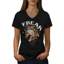 Freak Punk Rock Skull Shirt Scream USA Women V-Neck T-shirt - $12.99+
