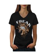 Freak Punk Rock Skull Shirt Scream USA Women V-Neck T-shirt - $12.99