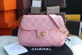 RARE AUTHENTIC CHANEL Vintage Pink Quilted Caviar Small Round Flap Bag GHW