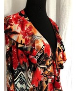 Red Hawaiian 1x Blouse Criss Cross Front Ruffles Bell Sleeves Hibiscus P... - $51.95