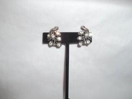 Vintage Signed Coro Silver Rhinestone Grapes Earrings Screw on Backs - $21.03