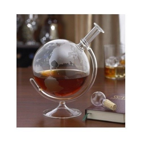 Unique Home Bar Accessories Glass Globe Wine Liquor Decanter Modern Home Bar Set - $88.99