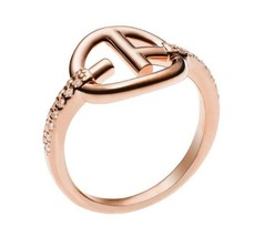 Emporio Armani EG3200221 Rose-Gold/Sterling Silver Revealed Identity Ring Size 8 - $59.75