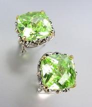 Designer Style Silver Gold Balinese Filigree Peridot Green CZ Crystal Ea... - £20.87 GBP