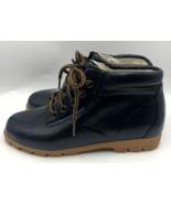 Daniel Green Women's Leather Lace Up Rubber Rain Boots Navy Blue 7M - $34.98