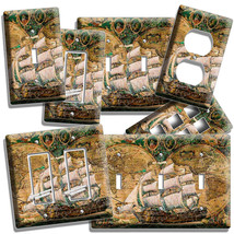 Old World Map Rustic Sail Boat Ship Light Switch Outlet Wall Plates Pirate Decor - $10.99+