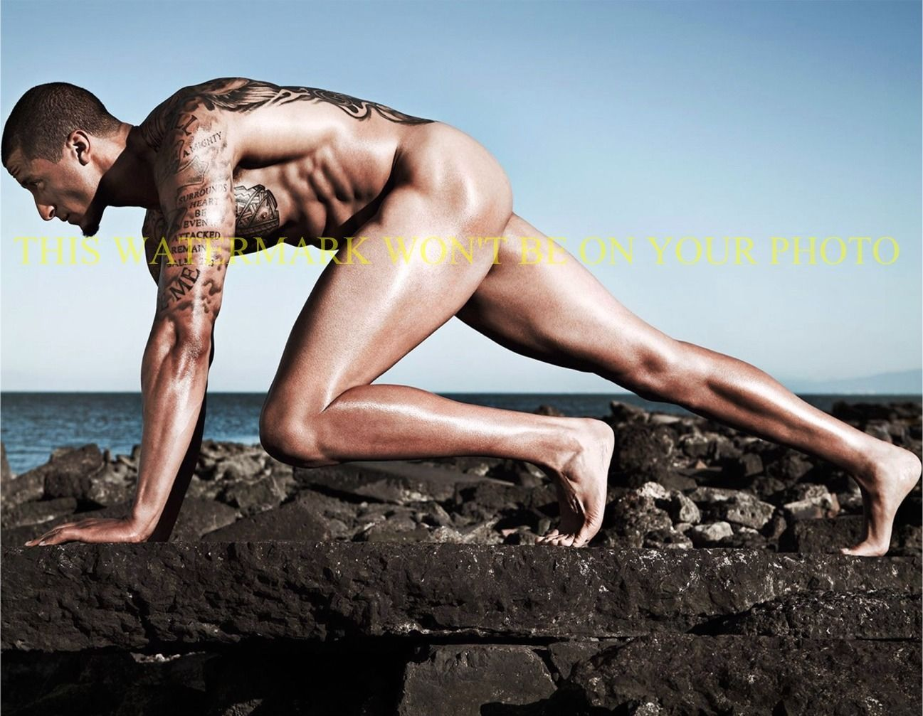 Primary image for COLIN KAEPERNICK ESPN BODY ISSUE 8x10 PHOTO BUFF TOTAL HUNK ABS TATS BOOTY