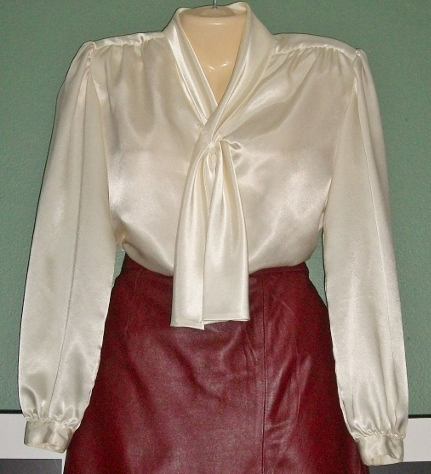 Primary image for VTG Silky Ivory Button Down Career Blouse Size 6