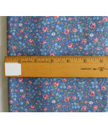 Fabric Peter Pan Fabrics, Small Scale Overall Floral Roses on Blue, 45 W... - $5.99