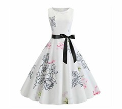 Sleeveless O Neck Big Swing Retro Style Dresses For Women Zip Close Sash... - $22.77