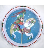 Carousel Horse and Girl Tin Platter Christmas - $12.95