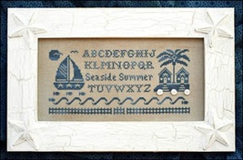 Seaside Summer Alphabet Kit monochromatic cross stitch Little House Need... - $20.30