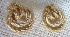 Gold Tone Double Knot Textured Rope Pierced Earrings - $14.85