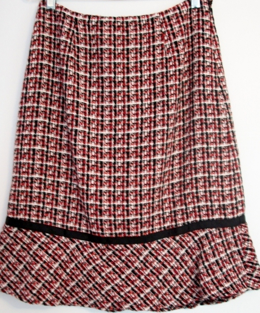 Primary image for Red & Black HERRINGBONE TULIP SKIRT FULLY LINED Size 6