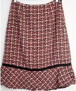 Red & Black HERRINGBONE TULIP SKIRT FULLY LINED Size 6 - $7.99