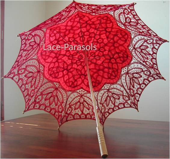 Primary image for Romantic Red Battenburg Lace Parasol
