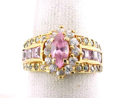 PINK and WHITE TOPAZ RING in GOLD Clad STERLING Silver - Size 7 1/2 - FR... - $75.00