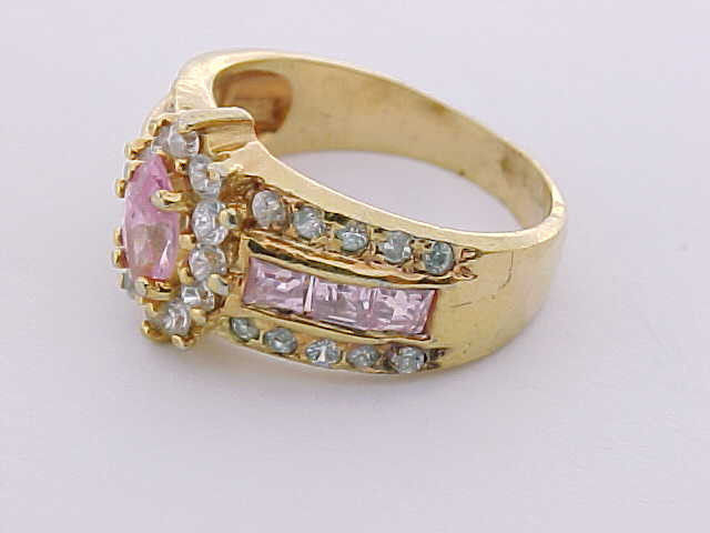 PINK and WHITE TOPAZ RING in GOLD Clad STERLING Silver - Size 7 1/2 - FREE SHIP