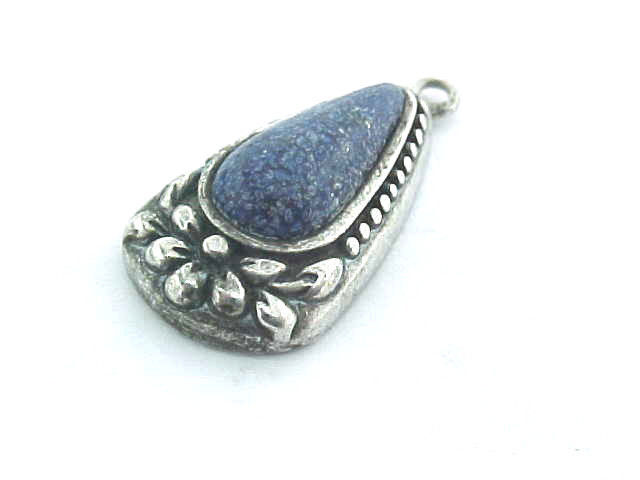 Primary image for LAPIS LAZULI Vintage PENDANT in STERLING Silver - Rich Blue