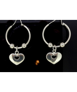 Sterling Silver Hoop Heart Earrings - $125.00