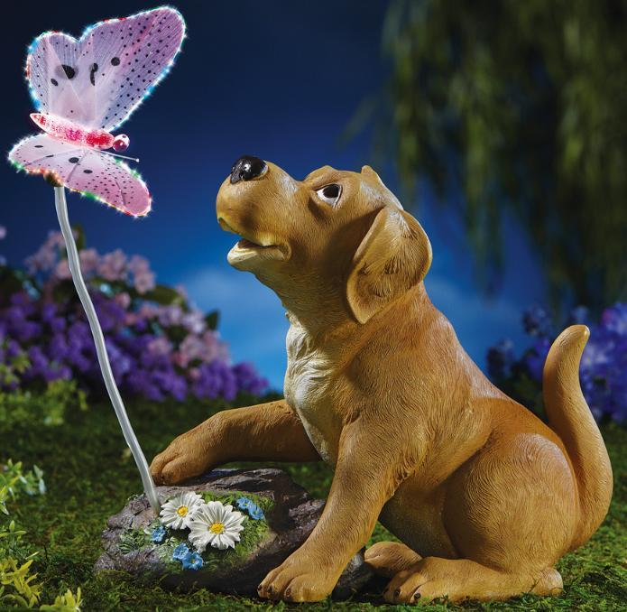 Primary image for Puppy and Lighted Butterfly Garden Statue
