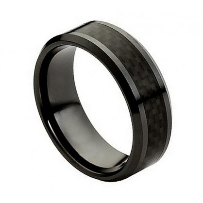 Primary image for CR215 CERAMIC RING WITH BLACK CARBON FIBER INLAY 8MM
