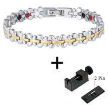 Women Bracelet Hand Chain Health Energy Magnetic Bracelet Charm Stainless Steel  - $39.95