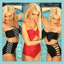 Big Bow Bandeau and High Waist 2Pc Bikini in Three Popular Pin Up Styles - $49.95