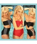 Big Bow Bandeau and High Waist 2Pc Bikini in Three Popular Pin Up Styles - $49.95