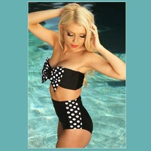 Big Bow Bandeau and High Waist 2Pc Bikini in Three Popular Pin Up Styles image 6