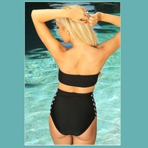 Big Bow Bandeau and High Waist 2Pc Bikini in Three Popular Pin Up Styles image 7