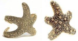 Starfish Cuff Bracelet & Ring Set Antique Gold Adjustable Women Star Wrap  - $30.99