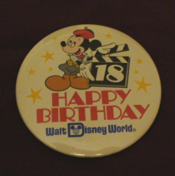 Walt Disney World 18th Birthday Mickey Mouse Cast Button