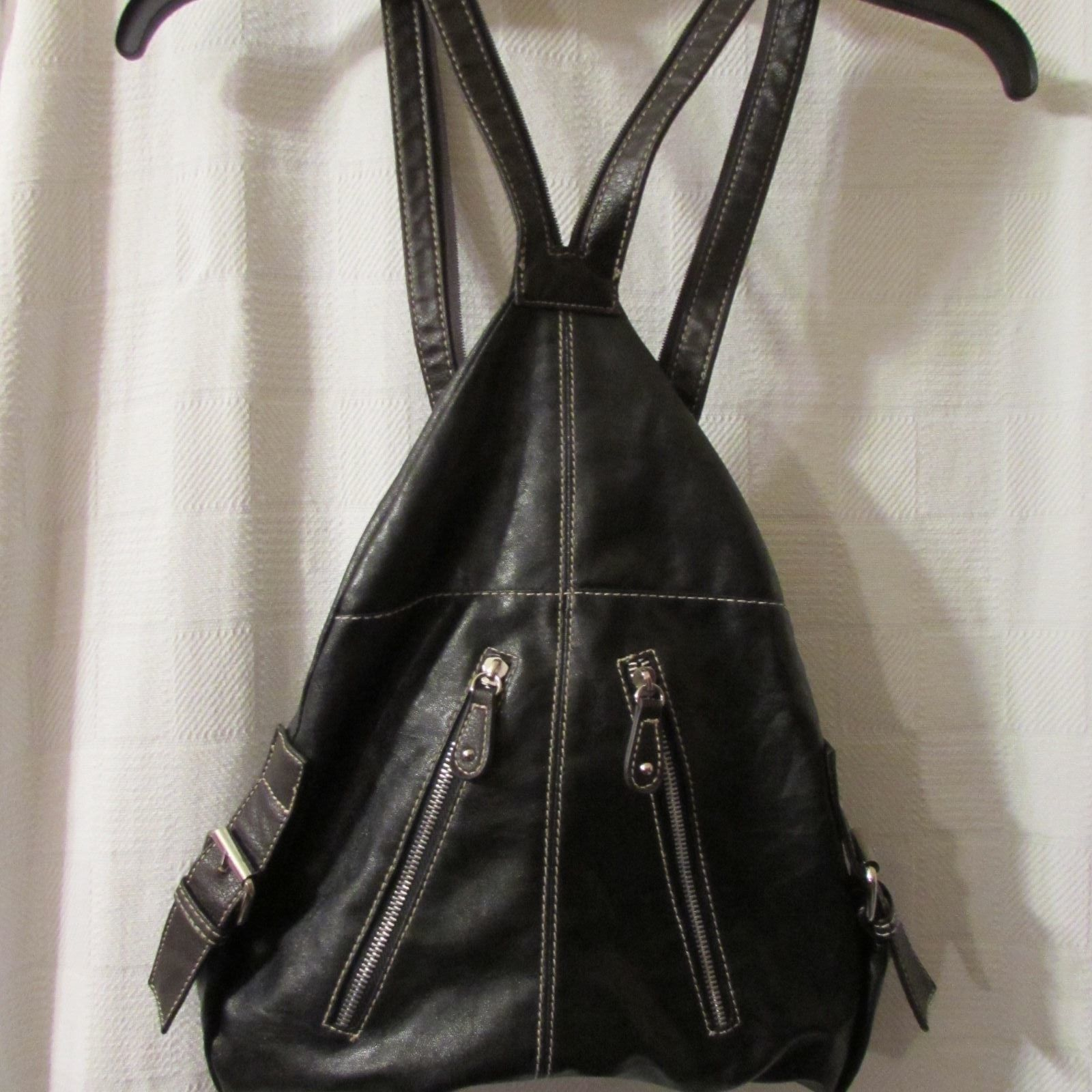 Chateau Black Backpack style Handbag/Faux Leather