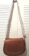 New without Tag Violetta Genuine Leather A2 Cross Body Handbag Color: Cognac
