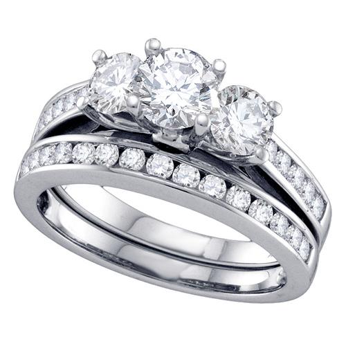 WOMENS 3 STONE BRILLIANT ROUND DIAMOND ENGAGEMENT RING WEDDING BAND BRIDAL SE