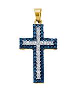 1.15 Carat Blue Diamond Cross Pendant Brilliant... - $539.55