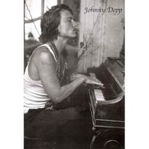 JOHNNY DEPP Poster - Smoking Full Size 24x36 ~ Classic B&W Piano  - $19.00