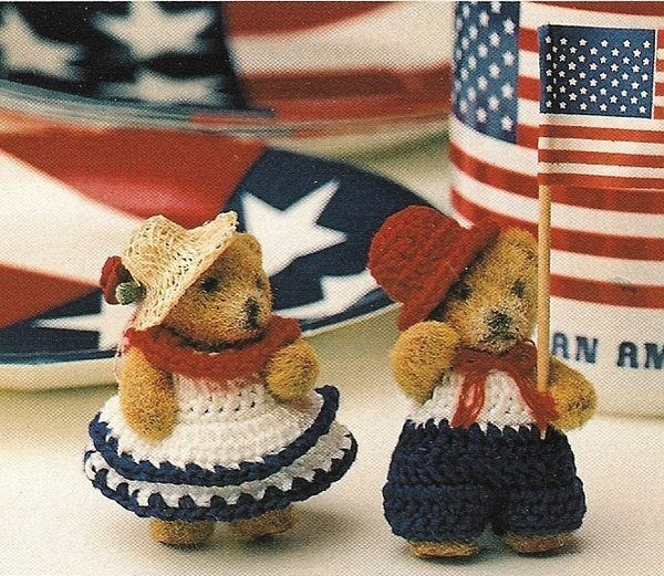 Primary image for X003 Crochet PATTERN ONLY Miniature Teddy Bears in Patriotic Outfits Pattern