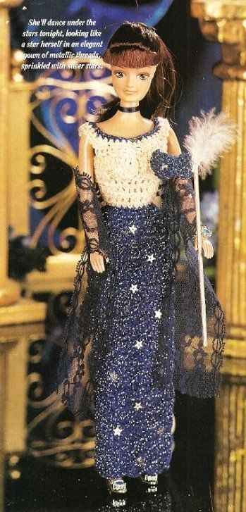 Primary image for X406 Crochet PATTERN ONLY Starry Nights Evening Gown Dress Mask Fashion Doll Bar