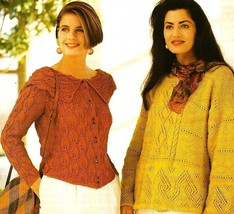 X750 Knit PATTERN ONLY 3 Sweaters Leaf & Cable Cardigan and 2 Lacy Pullo... - $7.45