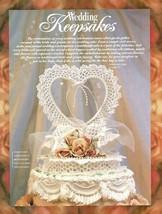 W479 Crochet PATTERN ONLY Heart Wedding Cake Topper Keepsake Pattern - $12.50