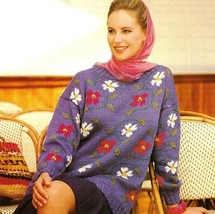 X390 Knit PATTERN ONLY Dogwood Flower Pullover Sweater Size Small to 2XL... - $8.45